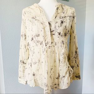 Maeve Anthropologie Cream W/Floral Blouse Sz Small